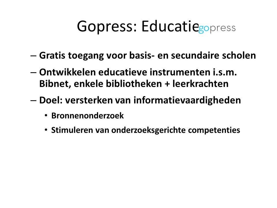 Gopress: Educatie – Gratis toegang voor basis- en secundaire scholen – Ontwikkelen educatieve instrumenten i.s.m.