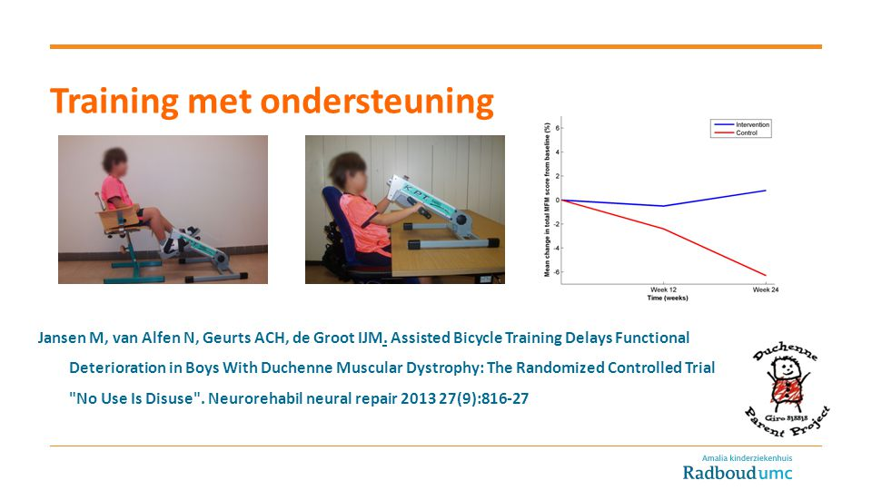 Jansen M, van Alfen N, Geurts ACH, de Groot IJM. Assisted Bicycle Training Delays Functional Deterioration in Boys With Duchenne Muscular Dystrophy: T