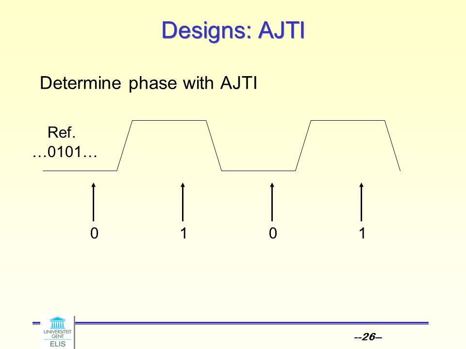 --26-- Designs: AJTI Determine phase with AJTI Ref. …0101… 0101