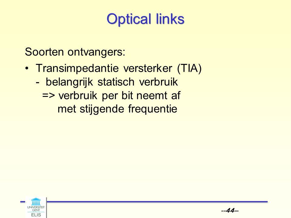 --44-- Optical links Soorten ontvangers: Transimpedantie versterker (TIA) - belangrijk statisch verbruik => verbruik per bit neemt af met stijgende fr