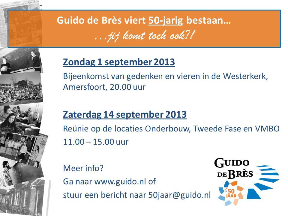 Guido de Brès viert 50-jarig bestaan… …jij komt toch ook?! Zondag 1 september 2013 Bijeenkomst van gedenken en vieren in de Westerkerk, Amersfoort, 20
