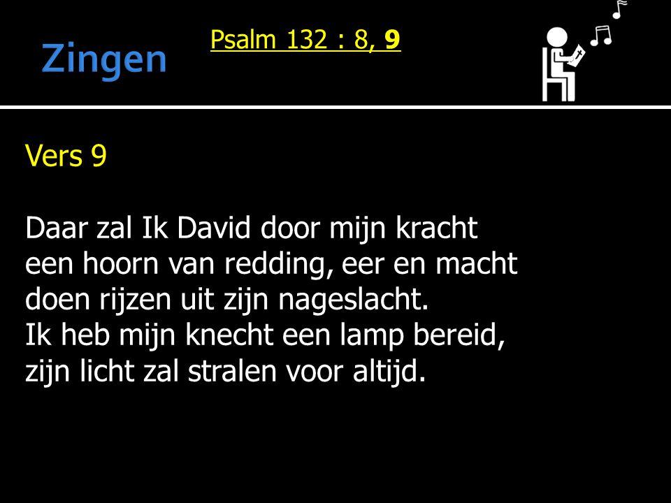 Psalm 132 : 8, 9 Vers 9 Daar zal Ik David door mijn kracht een hoorn van redding, eer en macht doen rijzen uit zijn nageslacht. Ik heb mijn knecht een