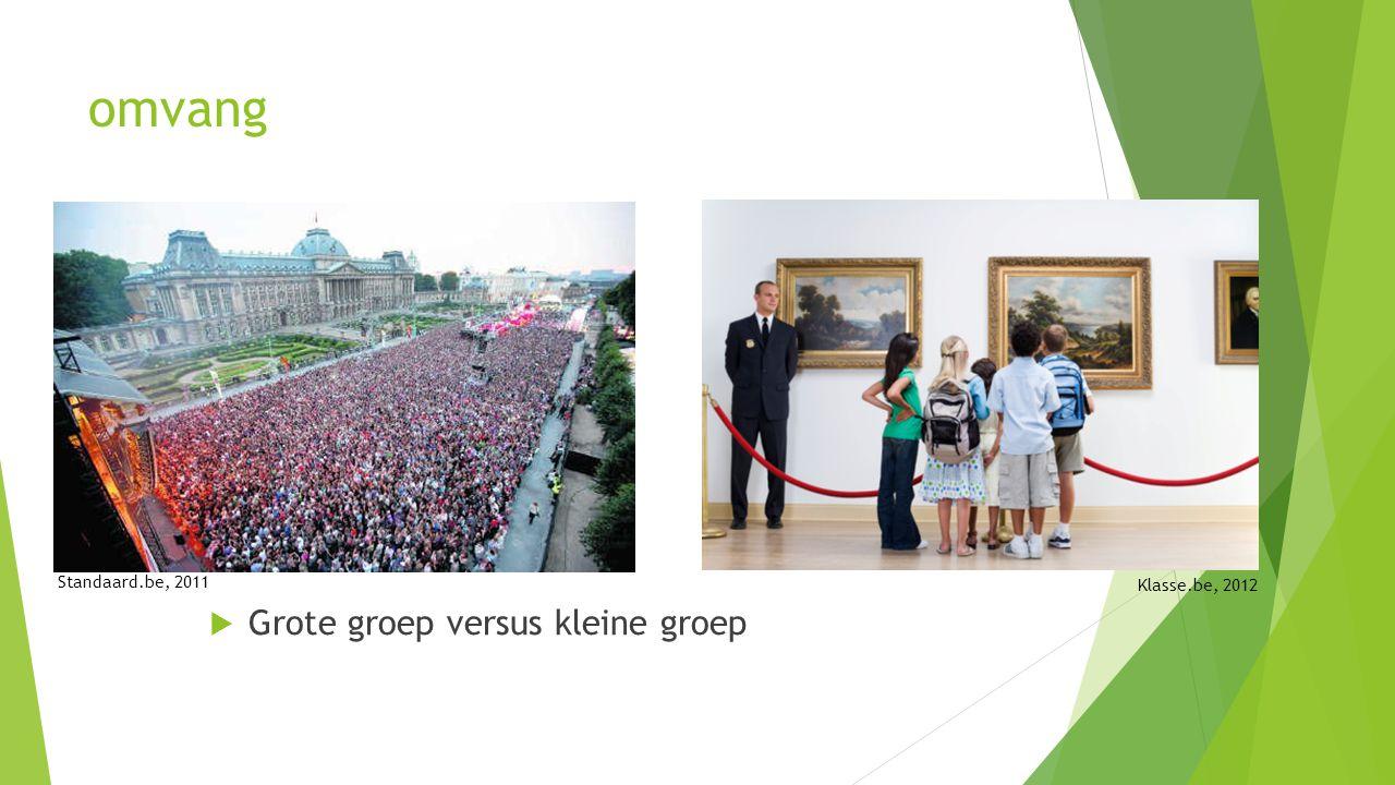 omvang  Grote groep versus kleine groep Standaard.be, 2011 Klasse.be, 2012