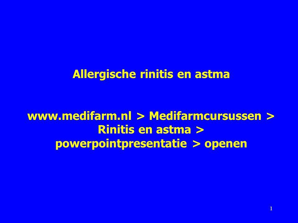 Indelingen rinitis In NHG-Standaard 2006: allergische (seizoengebonden) en niet-allergische (niet-seizoengebonden) rinitis.
