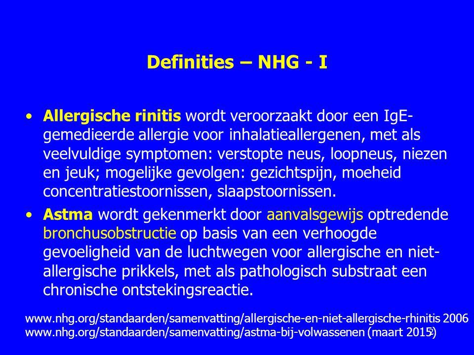 Klachten bij consult allergische rinitis 89% Rinorroe 82% Niezen 82% Congestie 68% Jeuk in de neus 68% Oogklachten [jeukende, rode tranende ogen] Bousquet et al.