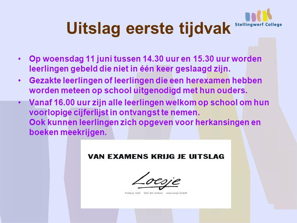 Uitslag eerste tijdvak Op woensdag 11 juni tussen 14.30 uur en 15.30 uur worden leerlingen gebeld die niet in één keer geslaagd zijn.