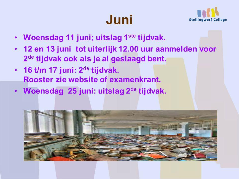 Juni Woensdag 11 juni; uitslag 1 ste tijdvak.