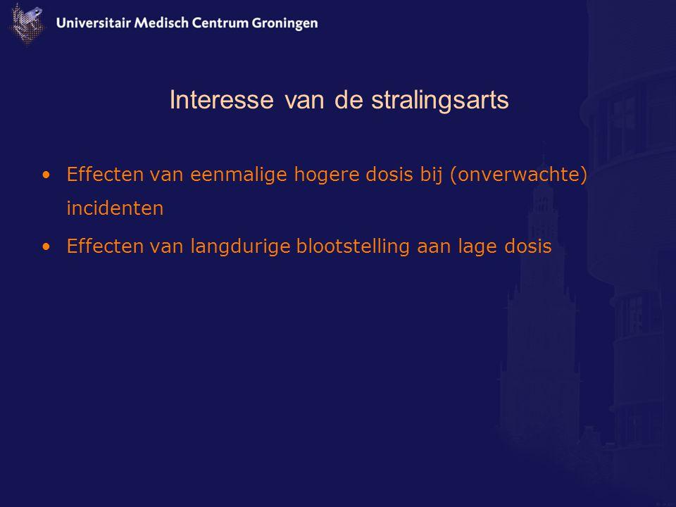 Interesse van de stralingsarts Effecten van eenmalige hogere dosis bij (onverwachte) incidenten Effecten van langdurige blootstelling aan lage dosis