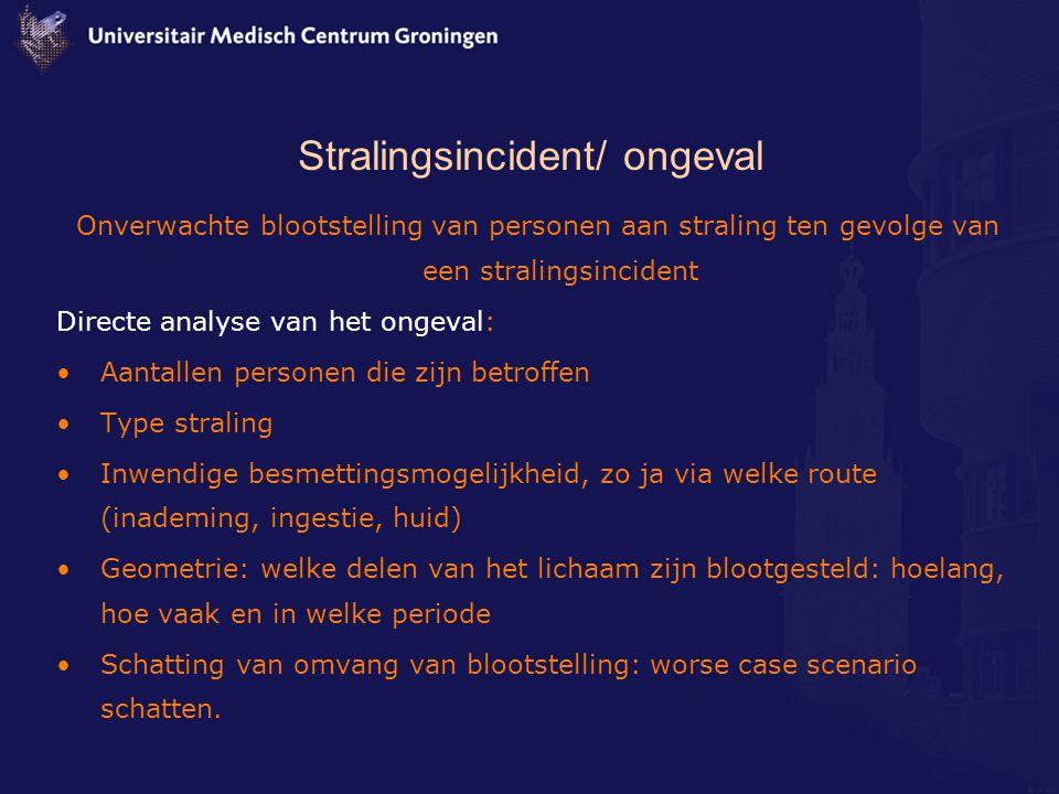 Stralingsincident/ ongeval Onverwachte blootstelling van personen aan straling ten gevolge van een stralingsincident Directe analyse van het ongeval: