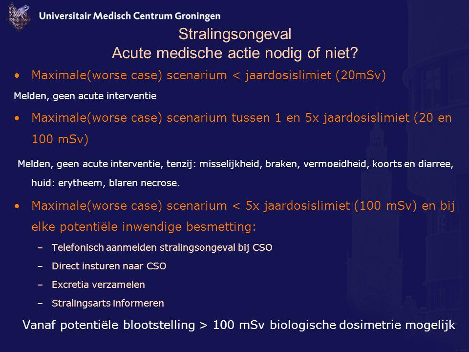 Stralingsongeval Acute medische actie nodig of niet? Maximale(worse case) scenarium < jaardosislimiet (20mSv) Melden, geen acute interventie Maximale(