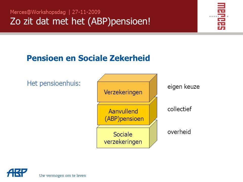 Merces@Workshopsdag | 27-11-2009 Zo zit dat met het (ABP)pensioen! Uw vermogen om te leven Pensioen en Sociale Zekerheid Sociale verzekeringen Aanvull