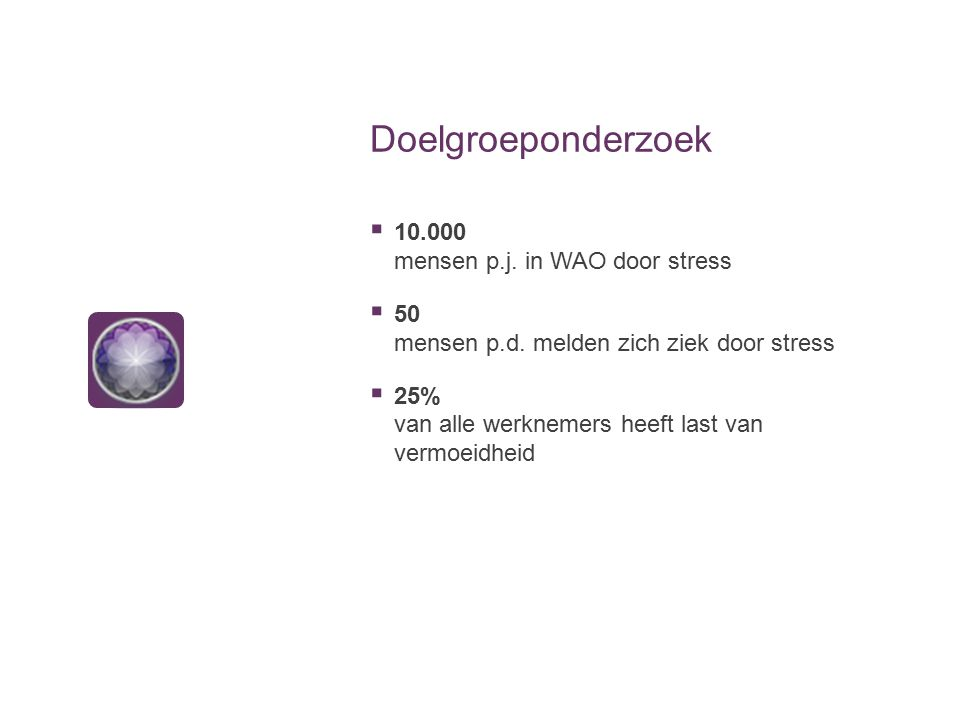 Doelgroeponderzoek  10.000 mensen p.j. in WAO door stress  50 mensen p.d. melden zich ziek door stress  25% van alle werknemers heeft last van verm