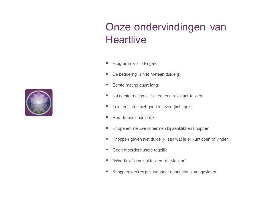 Onze ondervindingen van Heartlive  Programma is in Engels  De bedoeling is niet meteen duidelijk  Eerste meting duurt lang  Na eerste meting niet