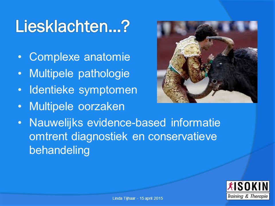 Meestal musculotendinogeen (Hölmich 2007) Oorzaak: krachtige concentrische contractie van spier op lengte Meeste atleten herstellen in 4 weken middels rust en sportrestrictie (Arnason 2004, Hagglund 2009, Hides 2011) Linda Tijhaar - 15 april 2015