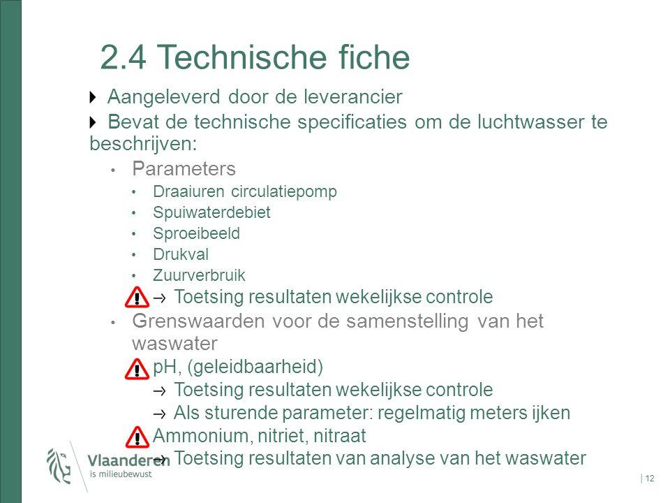 2.4 Technische fiche Aangeleverd door de leverancier Bevat de technische specificaties om de luchtwasser te beschrijven: Parameters Draaiuren circulat
