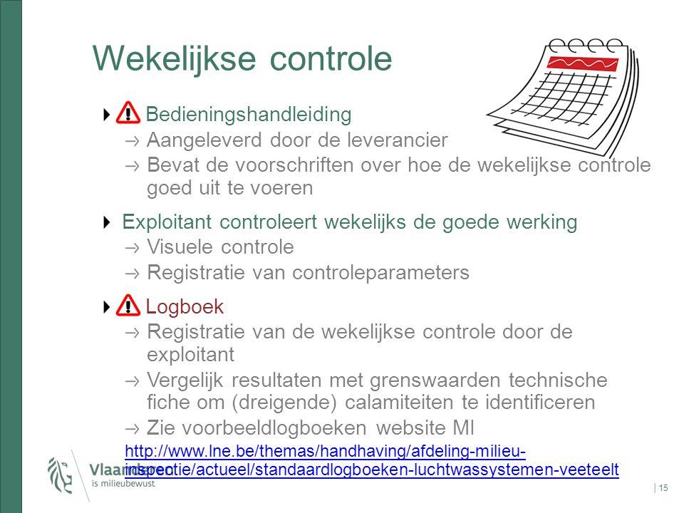 Wekelijkse controle Bedieningshandleiding Aangeleverd door de leverancier Bevat de voorschriften over hoe de wekelijkse controle goed uit te voeren Ex