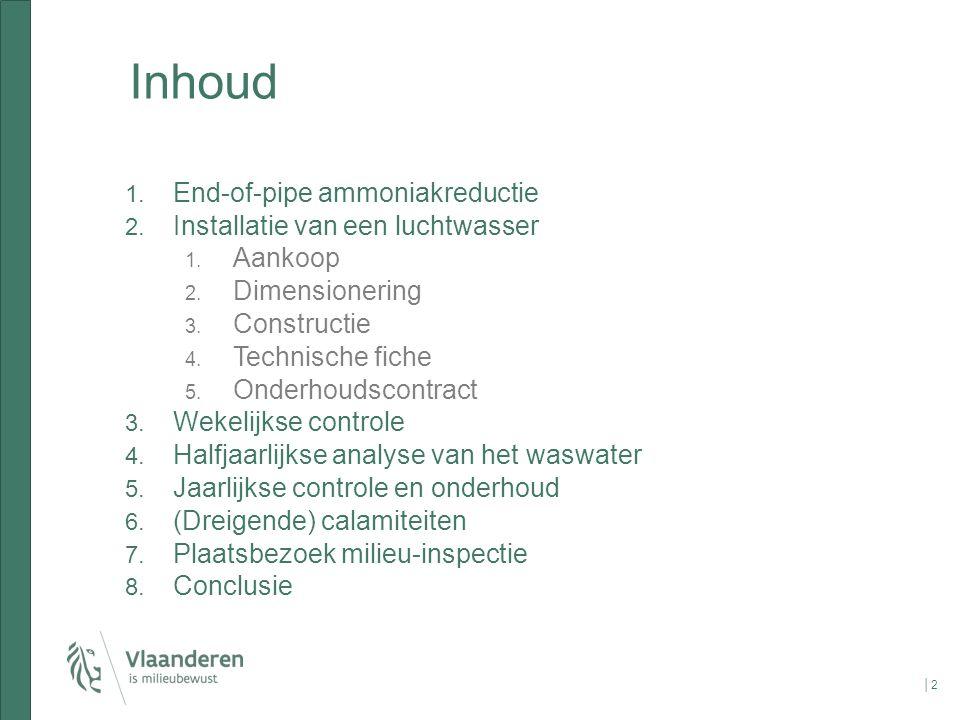 Inhoud │2│2 1. End-of-pipe ammoniakreductie 2. Installatie van een luchtwasser 1. Aankoop 2. Dimensionering 3. Constructie 4. Technische fiche 5. Onde
