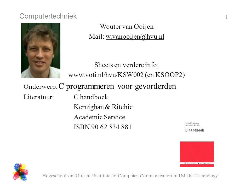 Computertechniek Hogeschool van Utrecht / Institute for Computer, Communication and Media Technology 12 Opdracht 1 'spelen' Haal het bmp_dump programma op en maak er een executable van Installeer IrfanView Haal ergens een plaatje vandaan (bij voorkeur met veel contrast) Gebruik IrfanView om je plaatje om te zetten naar.bmp formaat Bekijk het plaatje met bmp_dump Gebruik IrfanView op het plaatje te re-sizen totdat je het behoorlijk kan zien met bmp_dump