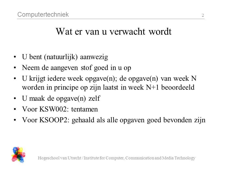 Computertechniek Hogeschool van Utrecht / Institute for Computer, Communication and Media Technology 23 Opdracht 2 'sinus' Maak een C programma dat een plaatje (bmp file) creeert met een behoorlijke formaat (bv 500 x 500 pixels).