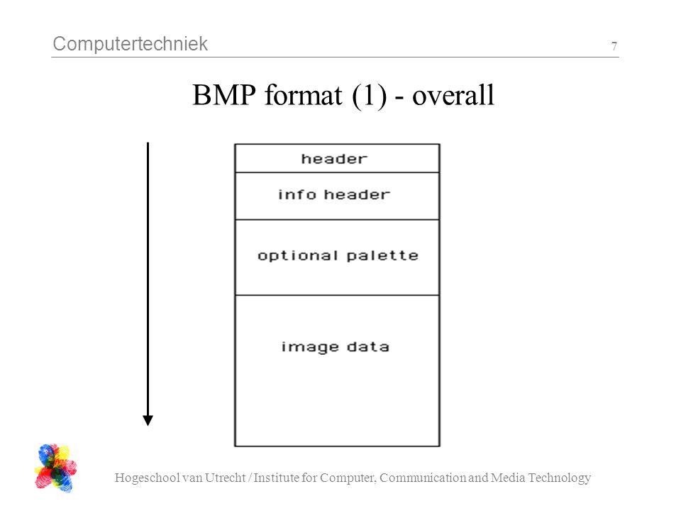 Computertechniek Hogeschool van Utrecht / Institute for Computer, Communication and Media Technology 18 bmp_dump.c - 4 /* read and check info */ if( 40 != sizeof( info )){ printf( sizeof( info ) = %d\n , sizeof( info )); return; } if( 1 != fread( &info, sizeof( info ), 1, fd )){ printf( could not read info \n ); return; } if( info.size != sizeof( info )){ printf( info size =%d\n , info.size ); return; } printf( format = %d x %d\n , info.width, info.height );