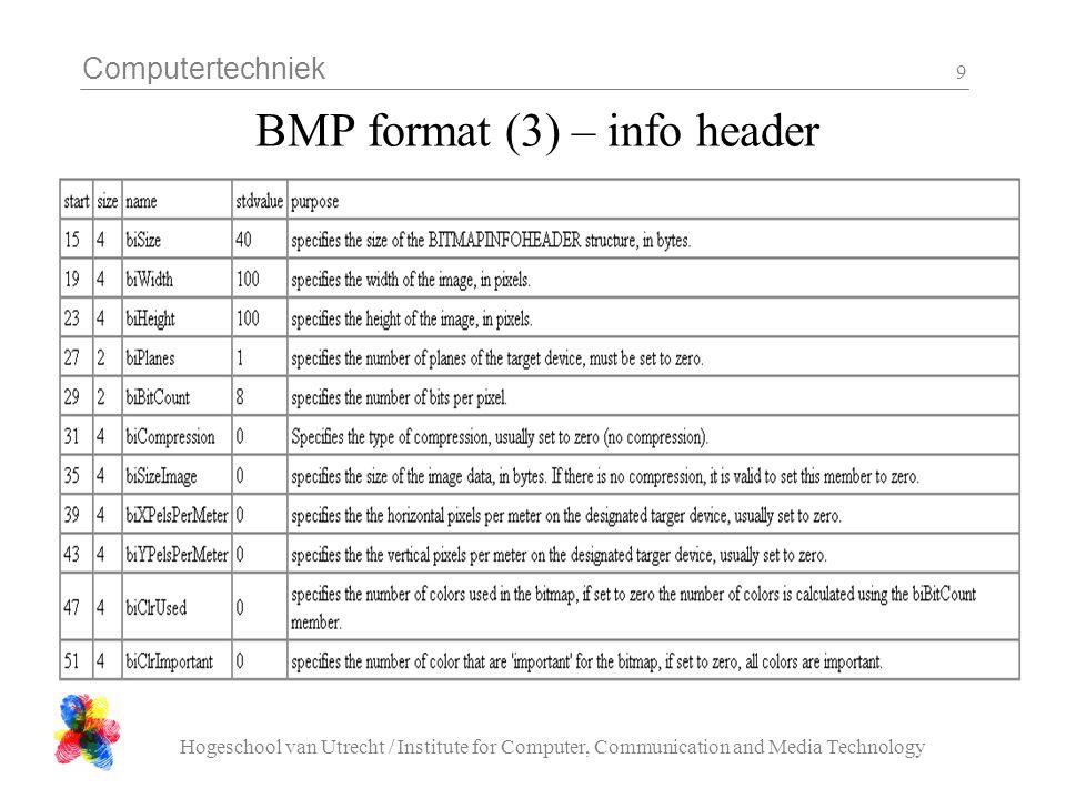 Computertechniek Hogeschool van Utrecht / Institute for Computer, Communication and Media Technology 20 bmp_dump.c - 6 /* read the pixel data */ n_bytes = multiple( ( info.bits / 8 ) * info.width, 4 ) * info.height; if(( n_bytes + sizeof( header ) + sizeof( info )) != header.size ){ printf( file size does not match, n_bytes=%d\n , n_bytes ); return; } if( NULL == ( p = malloc( n_bytes ))){ printf( out of memory allocating %d bytes\n , n_bytes ); return; } if( n_bytes != ( n = fread( p, 1, n_bytes, fd ))){ printf( could not read %d pixel data bytes (%d read)\n , n_bytes, n ); return; }