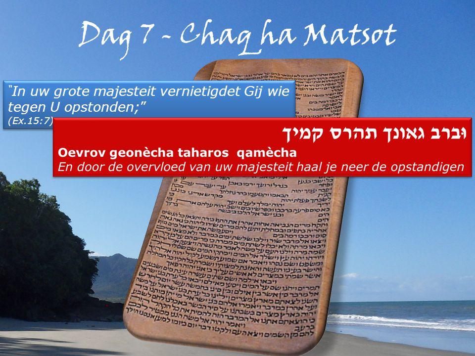 Dag 7 - Chaq ha Matsot In uw grote majesteit vernietigdet Gij wie tegen U opstonden; (Ex.15:7) In uw grote majesteit vernietigdet Gij wie tegen U opstonden; (Ex.15:7)