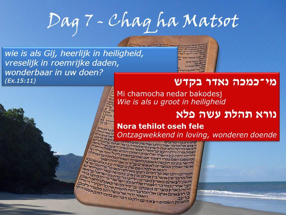 Dag 7 - Chaq ha Matsot wie is als Gij, heerlijk in heiligheid, vreselijk in roemrijke daden, wonderbaar in uw doen.