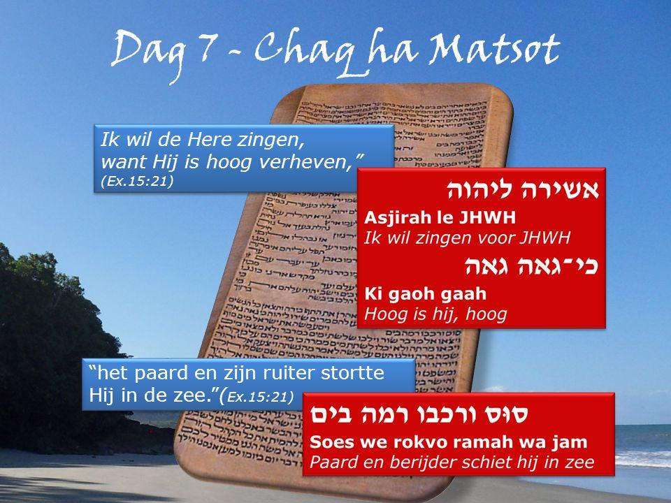 Dag 7 - Chaq ha Matsot Ik wil de Here zingen, want Hij is hoog verheven, (Ex.15:21) Ik wil de Here zingen, want Hij is hoog verheven, (Ex.15:21) het paard en zijn ruiter stortte Hij in de zee. ( Ex.15:21)