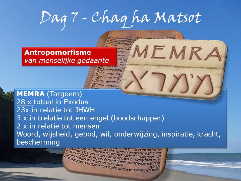 Dag 7 - Chaq ha Matsot MEMRA (Targoem) 28 x totaal in Exodus 23x in relatie tot JHWH 3 x in trelatie tot een engel (boodschapper) 2 x in relatie tot mensen Woord, wijsheid, gebod, wil, onderwijzing, inspiratie, kracht, bescherming MEMRA (Targoem) 28 x totaal in Exodus 23x in relatie tot JHWH 3 x in trelatie tot een engel (boodschapper) 2 x in relatie tot mensen Woord, wijsheid, gebod, wil, onderwijzing, inspiratie, kracht, bescherming Antropomorfisme van menselijke gedaante Antropomorfisme van menselijke gedaante