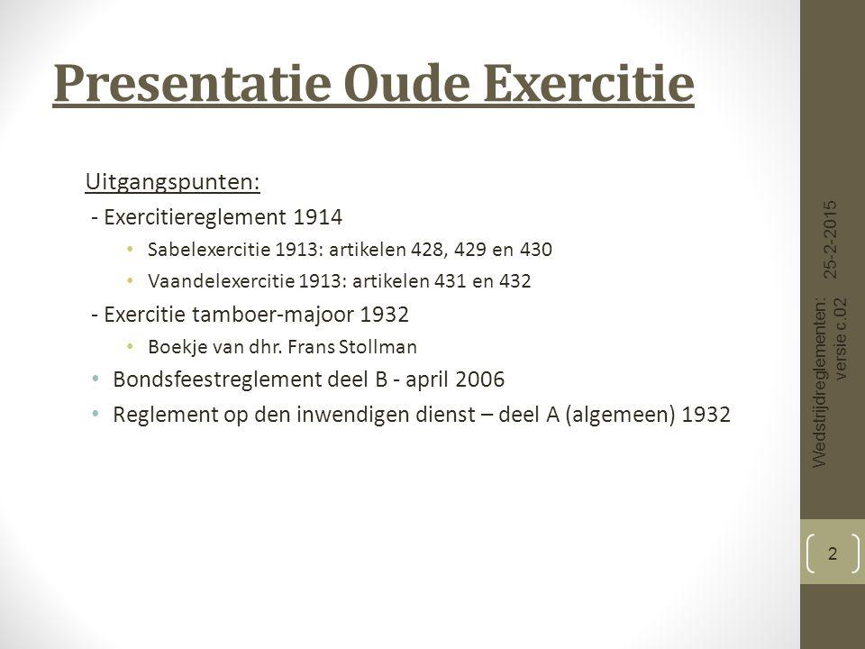 Presentatie Oude Exercitie Uitgangspunten: - Exercitiereglement 1914 Sabelexercitie 1913: artikelen 428, 429 en 430 Vaandelexercitie 1913: artikelen 431 en 432 - Exercitie tamboer-majoor 1932 Boekje van dhr.