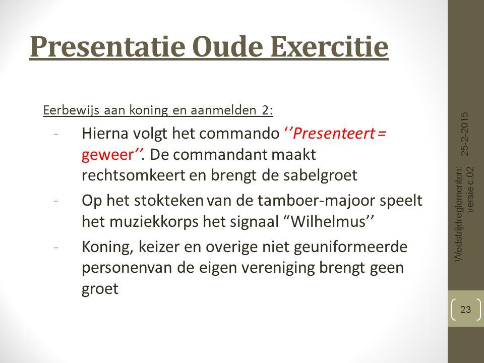 Presentatie Oude Exercitie Eerbewijs aan koning en aanmelden 2: -Hierna volgt het commando ''Presenteert = geweer''.