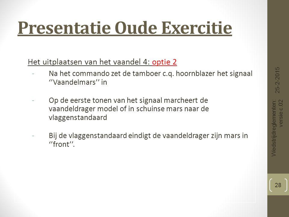 Presentatie Oude Exercitie Het uitplaatsen van het vaandel 4: optie 2 -Na het commando zet de tamboer c.q.