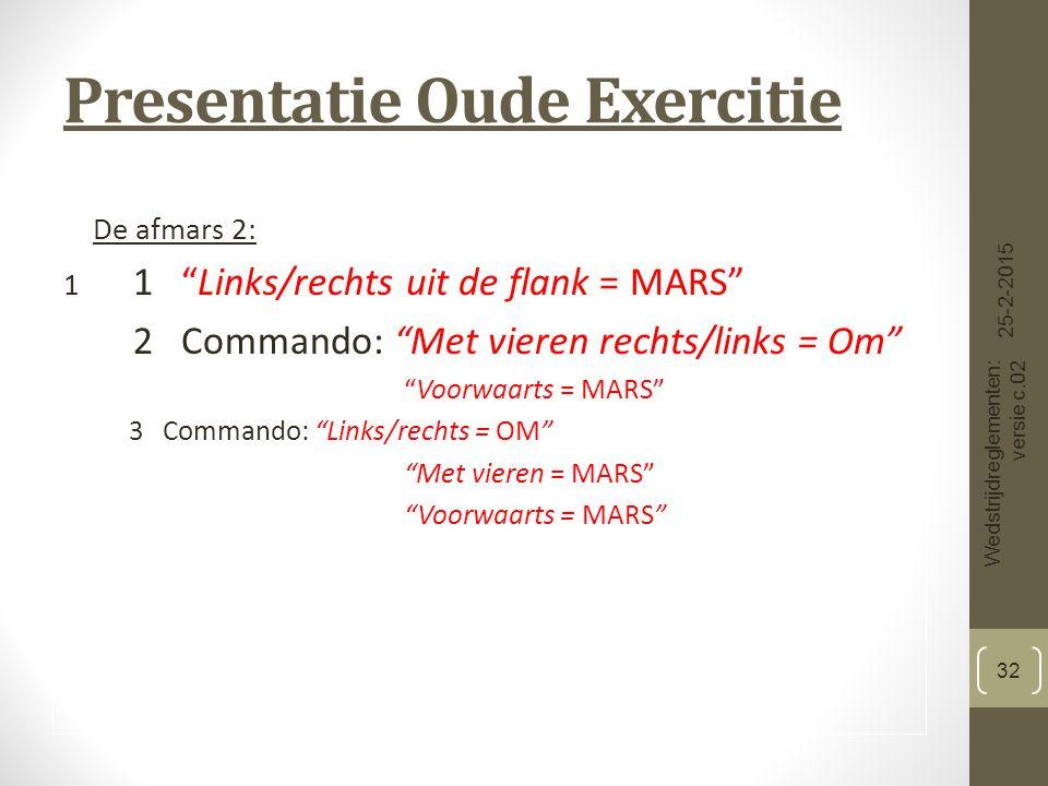 Presentatie Oude Exercitie De afmars 2: 1 1 Links/rechts uit de flank = MARS 2 Commando: Met vieren rechts/links = Om Voorwaarts = MARS 3 Commando: Links/rechts = OM Met vieren = MARS Voorwaarts = MARS 25-2-2015 Wedstrijdreglementen: versie c.02 32