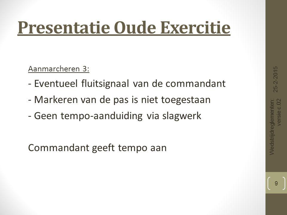 Presentatie Oude Exercitie Richten 8: In afwijking van het Reglement 1914 begeeft de commandant zich voor het commando ''STAAT'', 3 passen uit het voorste gelid en 2 passen naar voren 2 passen 3 passen co.