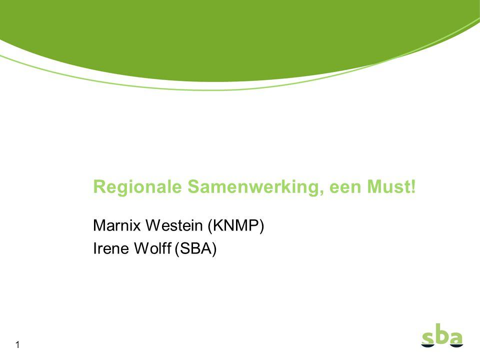 Marnix Westein (KNMP) Irene Wolff (SBA) Regionale Samenwerking, een Must! 1