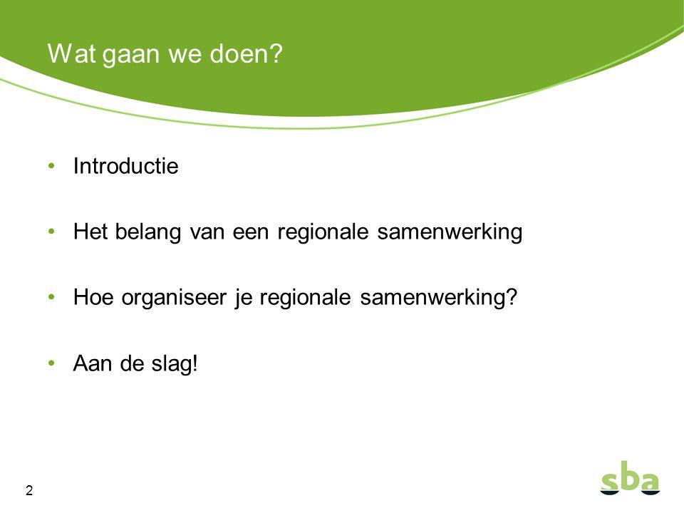 Wat gaan we doen? Introductie Het belang van een regionale samenwerking Hoe organiseer je regionale samenwerking? Aan de slag! 2