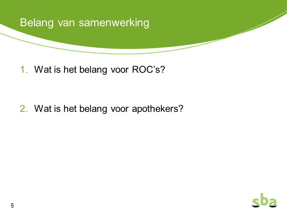 Belang van samenwerking 1.Wat is het belang voor ROC's? 2.Wat is het belang voor apothekers? 5