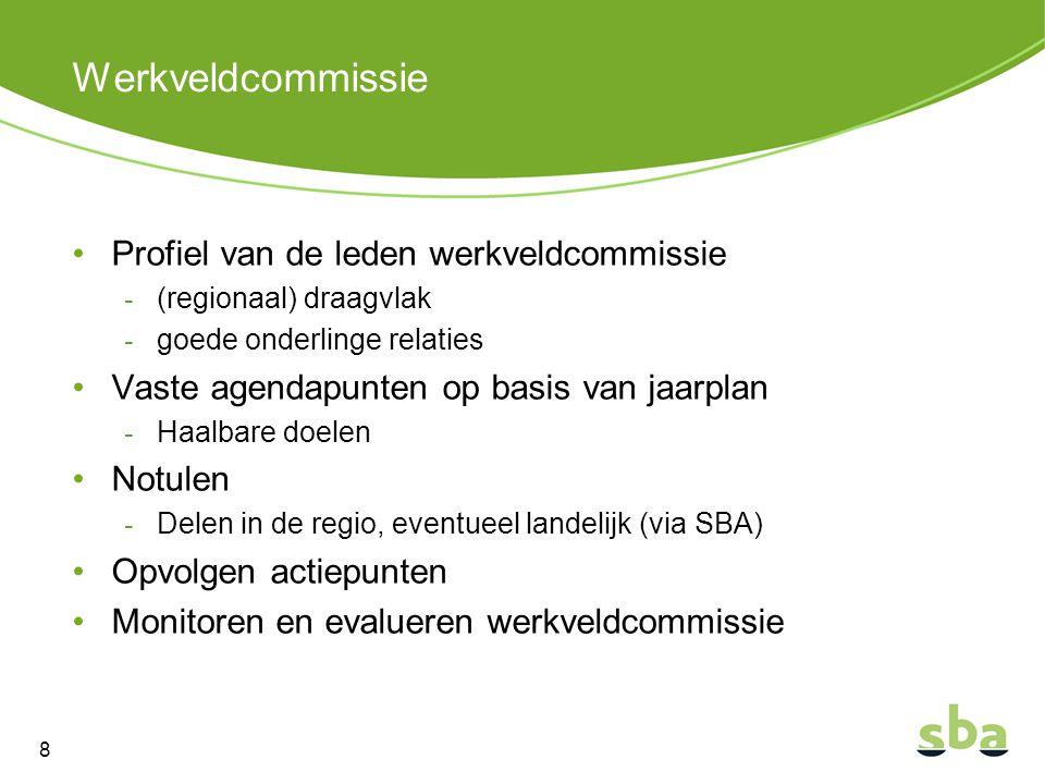 Werkveldcommissie Profiel van de leden werkveldcommissie - (regionaal) draagvlak - goede onderlinge relaties Vaste agendapunten op basis van jaarplan