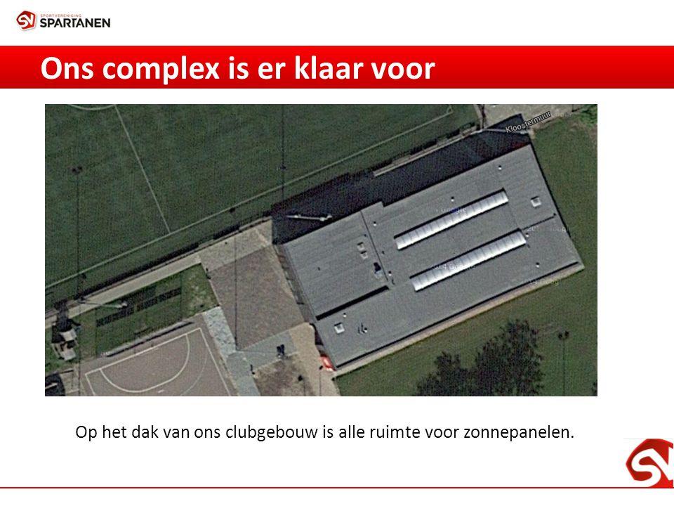 Ons complex is er klaar voor Op het dak van ons clubgebouw is alle ruimte voor zonnepanelen.