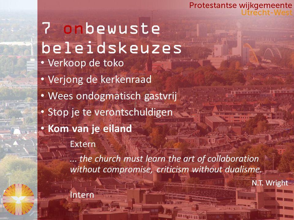 7 onbewuste beleidskeuzes Verkoop de toko Verjong de kerkenraad Wees ondogmatisch gastvrij Stop je te verontschuldigen Kom van je eiland Extern...
