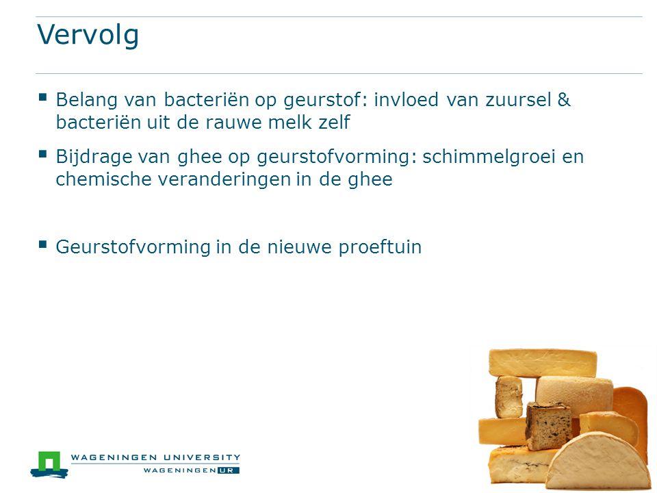 Vervolg  Belang van bacteriën op geurstof: invloed van zuursel & bacteriën uit de rauwe melk zelf  Bijdrage van ghee op geurstofvorming: schimmelgro