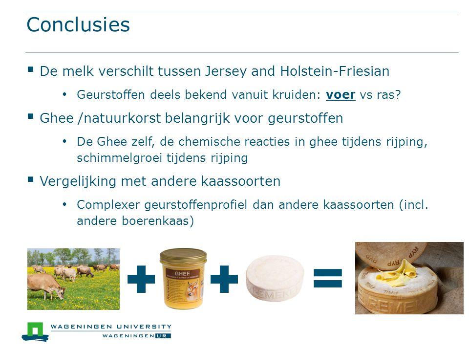 Conclusies  De melk verschilt tussen Jersey and Holstein-Friesian Geurstoffen deels bekend vanuit kruiden: voer vs ras?  Ghee /natuurkorst belangrij