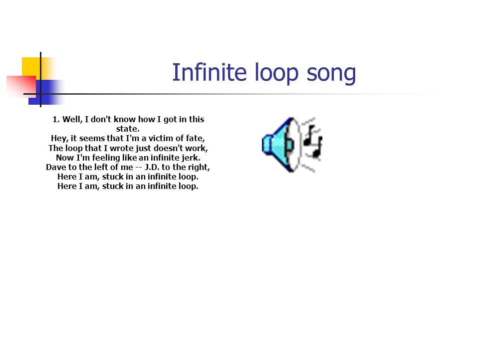 Infinite loop song 1. Well, I don't know how I got in this state. Hey, it seems that I'm a victim of fate, The loop that I wrote just doesn't work, No