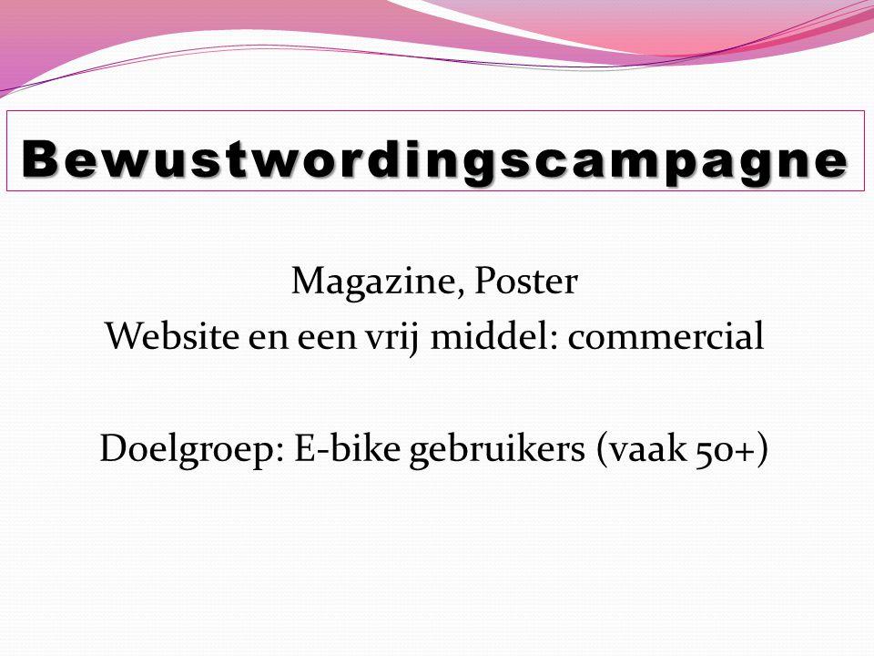 Magazine, Poster Website en een vrij middel: commercial Doelgroep: E-bike gebruikers (vaak 50+) Bewustwordingscampagne