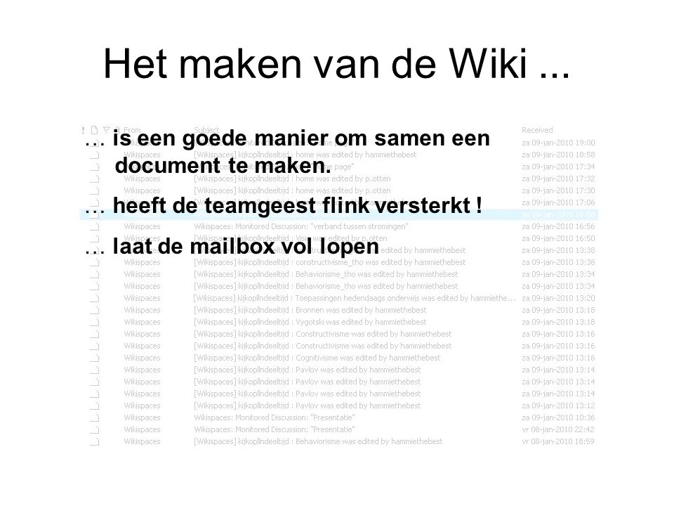 Het maken van de Wiki... … is een goede manier om samen een document te maken. … heeft de teamgeest flink versterkt ! … laat de mailbox vol lopen
