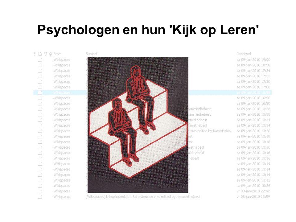Psychologen en hun 'Kijk op Leren'