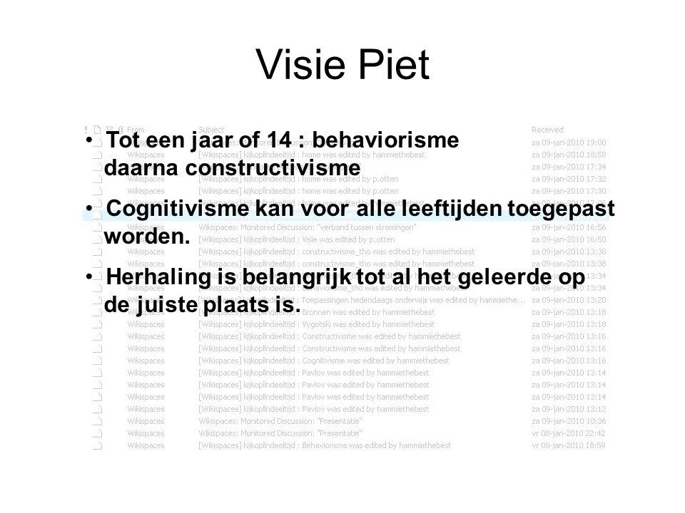 Visie Piet Tot een jaar of 14 : behaviorisme daarna constructivisme Cognitivisme kan voor alle leeftijden toegepast worden. Herhaling is belangrijk to