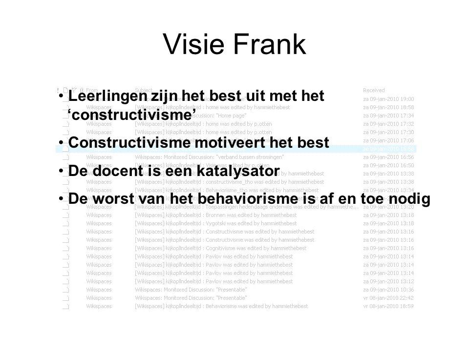 Visie Frank Leerlingen zijn het best uit met het 'constructivisme' Constructivisme motiveert het best De docent is een katalysator De worst van het be