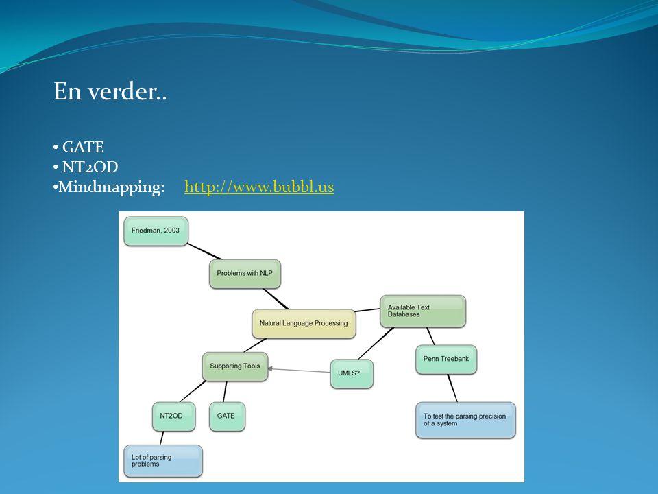 En verder.. GATE NT2OD Mindmapping: http://www.bubbl.ushttp://www.bubbl.us