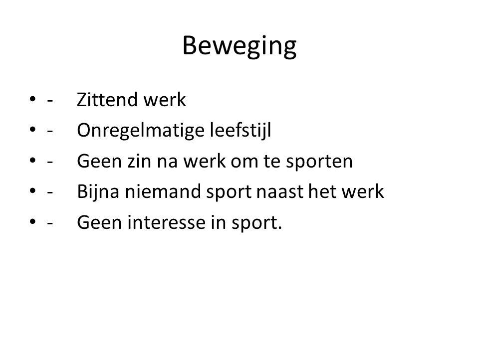 Beweging -Zittend werk -Onregelmatige leefstijl -Geen zin na werk om te sporten -Bijna niemand sport naast het werk -Geen interesse in sport.